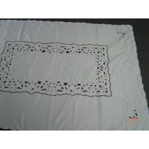Solid Ivory Tablecloth Cut work